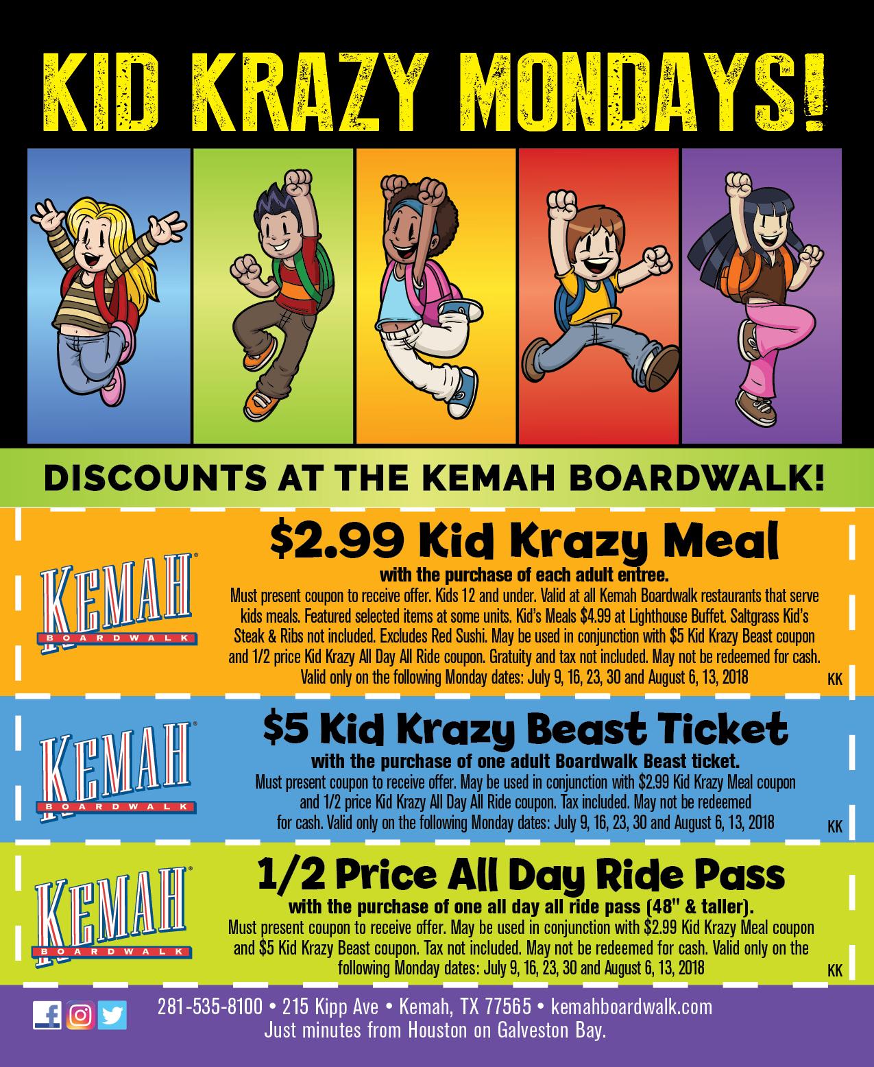 Kid Krazy Mondays Kemah Boardwalk Coupons