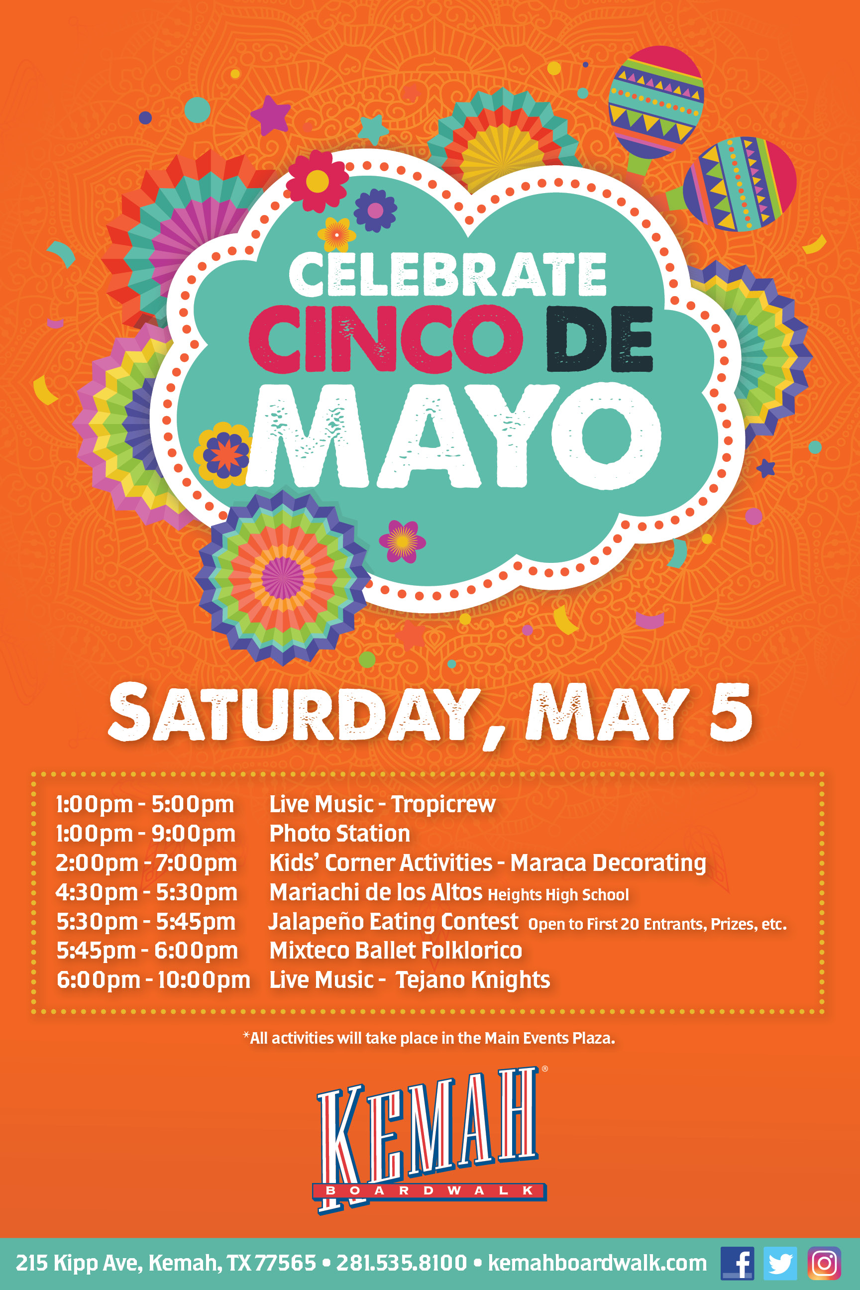 Celebrate Cinco De Mayo at the Kemah Boardwalk. Events from 1pm - 10pm.